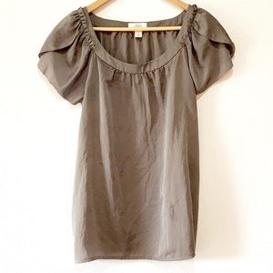 Loft | taupe brown short sleeve dress blouse top